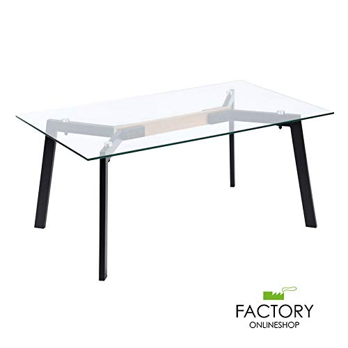 (Geniqua Contemprary Modern Tempered Glass Coffee Table Metal Black Legs Home Living Room)