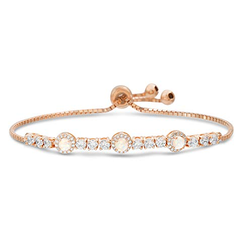 Prong Set Tennis Bracelet - INSPIRED BY YOU. Round Prong Set Laboratory Created Opal and Cubic Zirconia Adjustable Tennis Bracelet for Women in Rose Gold Plated Sterling Silver (Rose)