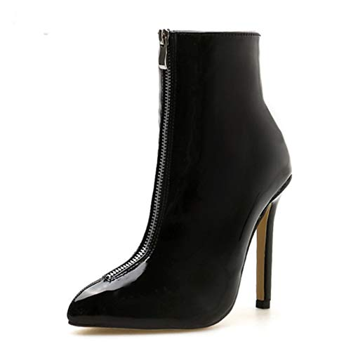 ChyJoey Women's Fashion Zipper High Heel Ankle Booties Pointed Toe Winter Patent Leather Sexy Short Boots Black