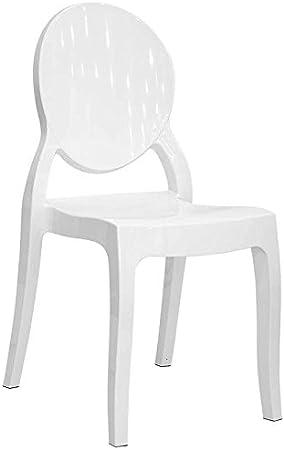 EGLEMTEK Set da 4 Sedie in Policarbonato Bianco, Sedia per Casa Cucina Ufficio Soggiorno Salone Bar Hotel, Leggera e Resistente, Sedia impilabile, 44