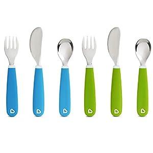 Munchkin Splash Toddler Fork, Knife and Spoon Set, 6 Pack, Blue/Green 6