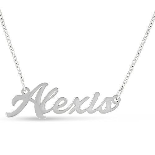 Alexis Nameplate Necklace In Silver Tone