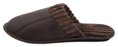 Zest Mens PU Open Back Mule Slipper Dark Brown s4mScP