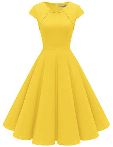 Homrain Women's 1950s Retro Vintage A-Line Cap Sleeve Cocktail Swing Party Dress Yellow XS