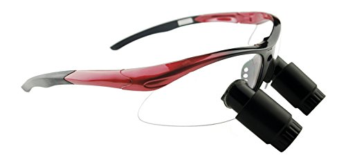 3.0x Feather TTL Dental Surgical Loupes (340mm Working Distance, Sports Frame Red) by Schultz