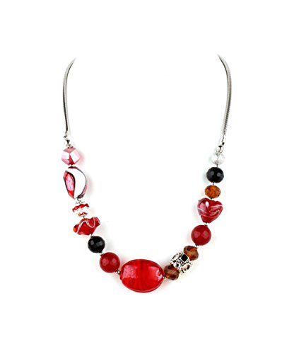 Francesca Collection Red Murano Glass Necklace - Murano Glass Stretch Bracelet