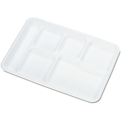 Chinet 22021CT Heavy Weight Molded Fiber Cafeteria Trays 6 Comp 8 1 2 X 12 1 2 Case Of 500