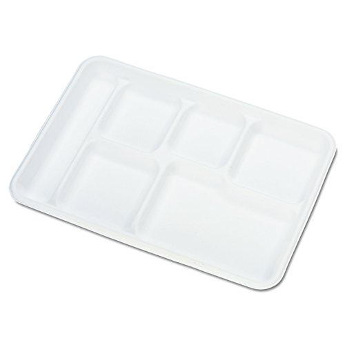 Chinet 22021CT Heavy-Weight Molded Fiber Cafeteria Trays, 6-Comp, 8 1/2 x 12 1/2 (Case of 500)