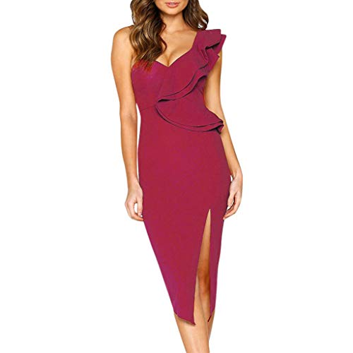 2019 Women Evening Maxi Party Dress Off Shoulder Side Split Slim Ruffle Sexy Bodycon Backless Long Dress Mermaid Gown Wine Red