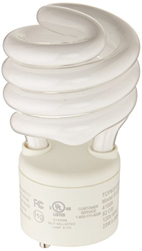 TCP 33123SP41K CFL Spring Lamp - 100 Watt Equivalent (Only 23w used!) Cool White (4100K) General Purpose Spiral Light Bulb - GU24 - Spiral 23w