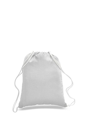 36 PACK - (3 Dozen) - Wholesale 100% Cotton Drawstring Backpack Bags - Arts and Crafts Bags - HTV - Vinyl - DIY - Screen Print - Embroidery Blanks Cinch Bags BULK Sack Packs - BPK18 (White) -