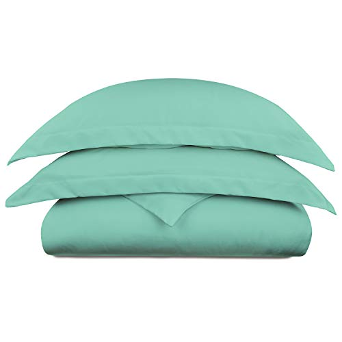 Cosy House Collection Luxury Bamboo Duvet Cover Set 3-Piece - Ultra Soft Hypoallergenic Bedding - Zippered Comforter Protector, Includes 2 Pillow Shams - Full/Queen - Turquoise