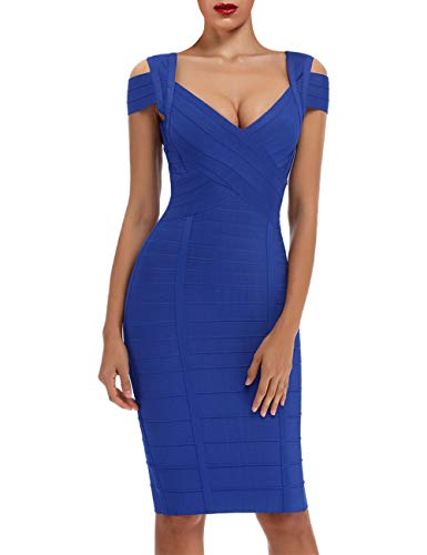 whoinshop Women's Rayon Sexy V Neck Bodycon Clubwear Party Bandage Dress (M, Blue)