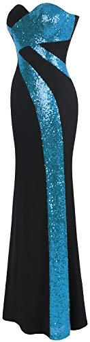 Sillonner Femme Soiree Robe sans Ciel Bleu Noir de Bretelles Classique Amoureux Blanc Angel fashions Noir XFPwqB