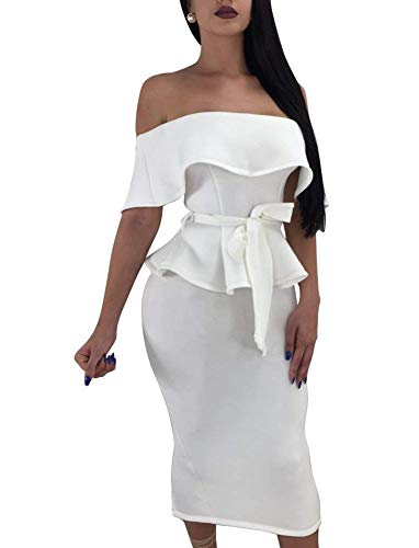 - Women's Ruffle 2 Piece Dress Boat Neck Off Shoulder Top + Hip Package Midi Skirt Small White