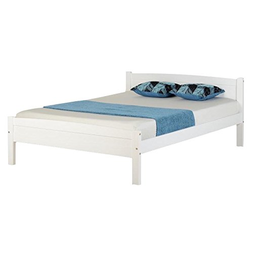 Seconique Amber Wooden Bed Frame, 3ft Single Bed Frame, White by Seconique