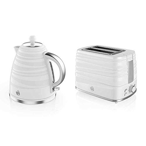 Swan STP3050WN, Symphony Kettle and 2 Slice Toaster Bundle, Jug Kettle Features A 360 Degree Rotational Base, 3000 Watts, Toaster Features 930 Watts, High Gloss and Matt Finish, White