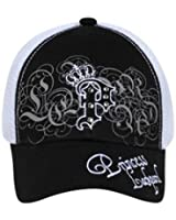 Crowned P with Rhinestones Mesh Back Hat Cap - Black