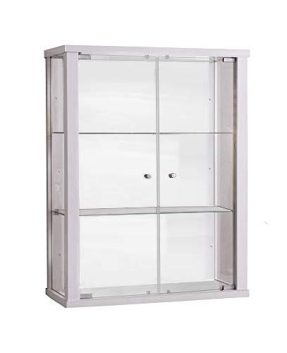 Vitrine murale 80x60x25 cm collection miniature blanc avec 2 étagères en verre K-Möbel
