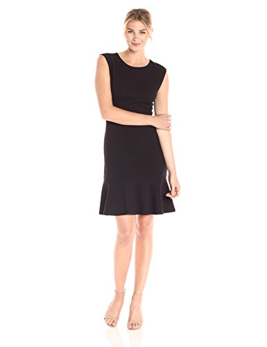 Dress Ruffle Hem (Lark & Ro Women's Sleeveless Sheath Dress with Hem Ruffle, Noir, Small)