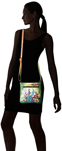Peacocks Painted Anuschka Expandable Crossbody Travel Fantasy Floral Passionate Hand z1xw81qf