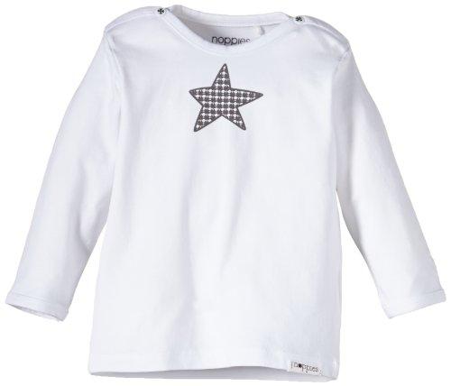Noppies Unisex - Baby T-Shirt U Tee Ls Melanie, Einfarbig, Gr. Neugeborene (Herstellergröße: 68), Weiß