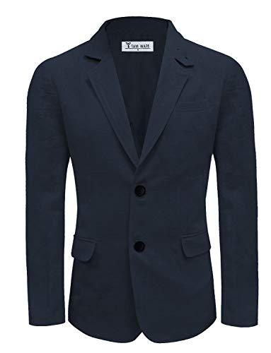 (TAM WARE Men Casual Two Button Notched Lapel Single Breasted Linen Blazer TWJ8218-NAVYBLUE-US S)