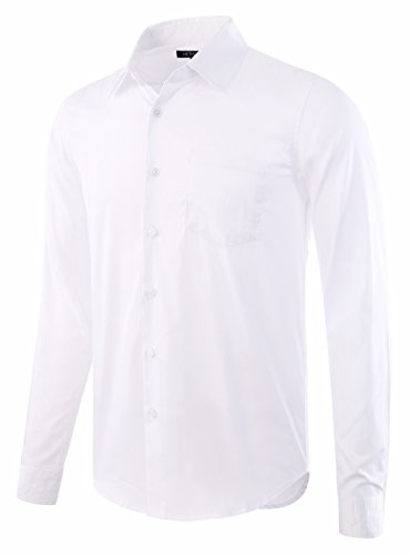 Cutaway Collar Fitted Shirt - HETHCODE Men's Business Casual Slim-Fit Long-Sleeve Solid Dress Shirt White S