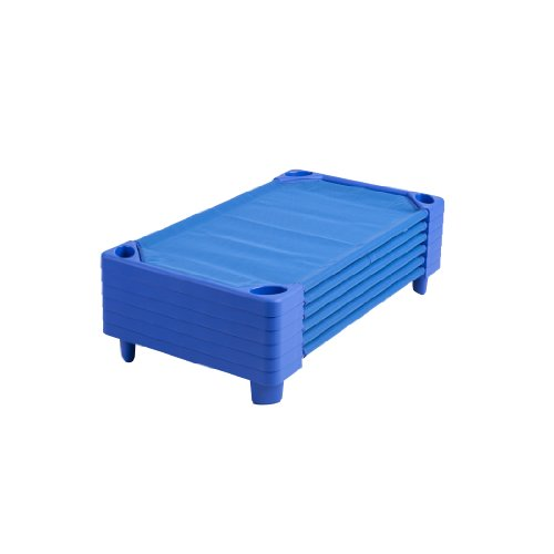 "ECR4Kids Streamline Children's Naptime Cot, Stackable Daycare Sleeping Cot for Kids, 52"" L x 23"" W, Ready-to-Assemble, Blue (Set of 6)"