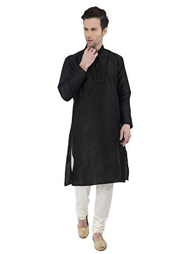 Kurta Pajama Men Black Indian Long Sleeve Button Down Shirt Dress Indian Wedding Wear -M
