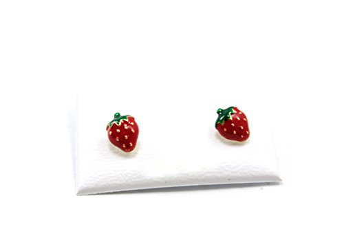 Yellow Gold Enamel Strawberry Earrings product image