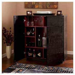 Aprodz Mango Wood Wine Storage Stylish Haxtun Bar Cabinet for Living Room | Ebony Finish