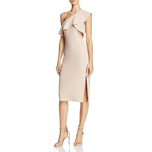 Women's Jerard One Shoulder Ruffle Dress, Biscuit, 2 ()