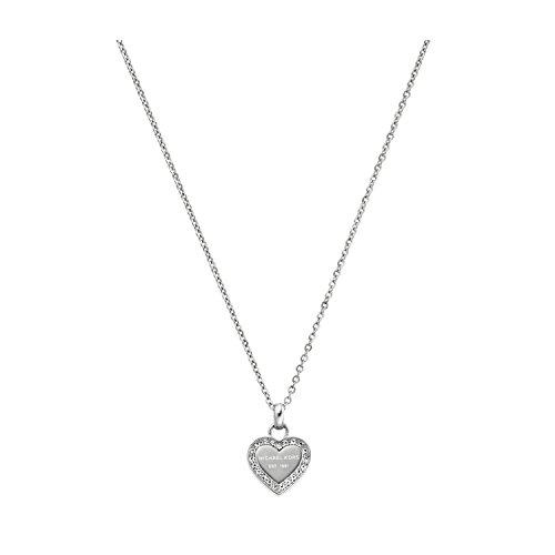Michael Kors Silver Tone Logo Heart Pendant Necklace