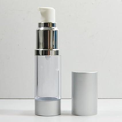 20 x cosméticos de botellas de plástico bomba de tratamiento (Airless botella tapa de plata