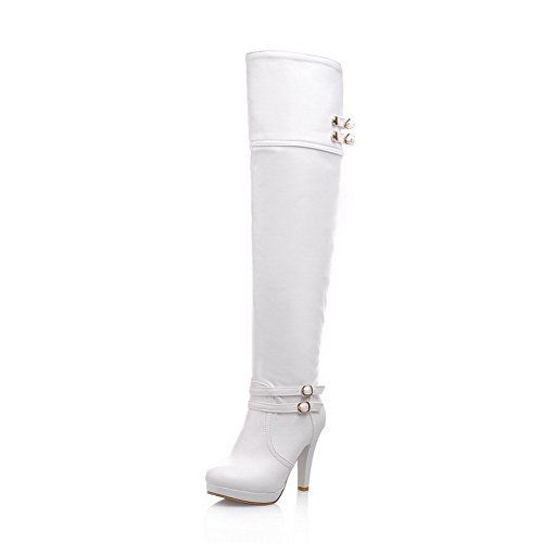 BalaMasa Womens High Heels Above The Knee Solid White PU Thigh Boots ABS00082-7 B(M) US
