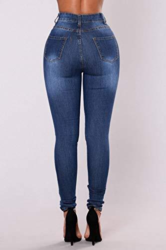 Donne Blu Caviglia Sevozimda Jeans I Le Scappando Strappati Stretch Pantaloni Av5vTwpq