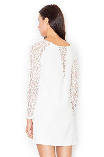 klassischen Figl Minikleid transparente Spitze Ecru Trapez Schnitt dekorative Elegantes im und wttqaxRr