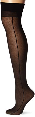 Dreamgirl Women's Sheer Thigh High with Backseam Socks, Black, One Size ()