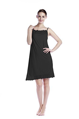 1c61f5022f Women s Lace Lingerie Chemise Modal Sleepwear Full Slip Strap Lounge Dress  Nightgown
