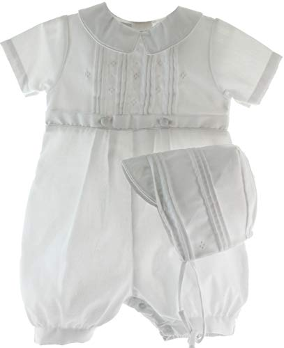 Petit Ami Boys Christening Romper Outfit with Hat Set Dressy Baptism Knicker ()