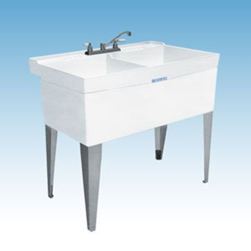 Mustee 26F Utilatwin Floor-Mount Laundry/Utility Tub, White by Mustee