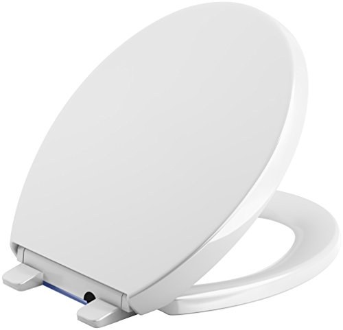 KOHLER 75793-0 Reveal Nightlight Quiet-Close with Grip-Tight Round-Front Toilet Seat, - Seat Kohler Toilet Nightlight
