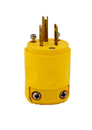 Leviton 515PV 15 Amp, 125 Volt, Grounding Plug, Yellow