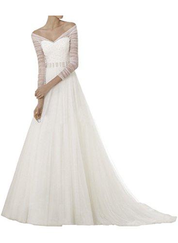 Milano Bride Neu Elegant V-Ausschnitt Tuell Princess Hochzeitskleider Brautmode Damen Durchsichtig
