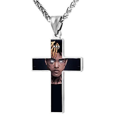 DIYNECKLACE Xxxtentacion King Couples Jesus Christ Zinc Alloy Chain Crucifix Cross Pendant Jewelry Cloth Accessory Love Token for Unisex Adults Kids Teens