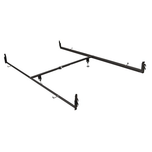 Queen Size Steel Bed (Glideaway DRCV1L Bed Rail System - Adjustable Steel Drop Rail Kit to Convert Full Size Beds to Fit Queen Size Mattresses - Suitable For Antique Beds - Hook-in Attachments)