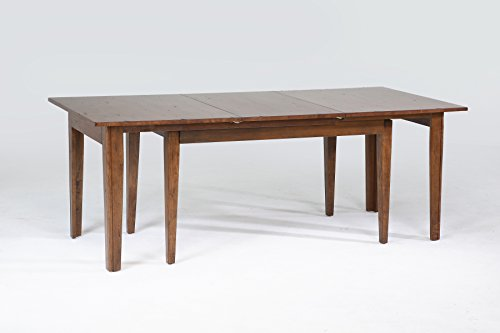 "A-America Toluca 132"" Rectangular Leg Table with (3) 24"" Self-Storing Leaves, Rustic Amber"