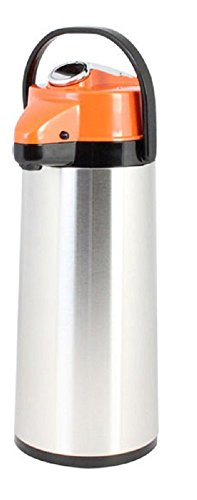 Thunder Group ASLS025D, 2.5 Liters/ 84 Ounces Glass Lined Airpot, Hot Coffee Dispenser, Decaf Vacuum Server With Lever Pump