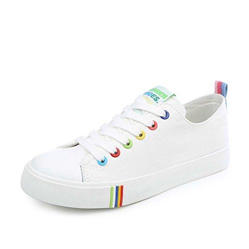 De chaussures classique Peu Féminin Perméable Chaussures Skateboard Printemps petites A Blanc Coréen Fond Toile Femmes À Plat L'air 7RxEwd